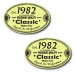 PAIR Distressed Aged Established 1982 Aged To Perfection Oval Design Vinyl Car Sticker 70x45mm Each